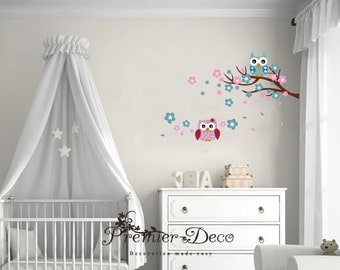 Little Cherry Flower / owl Nursery Baby Girl Boy Kid's Wall Sticker Decal Mural Wall Art