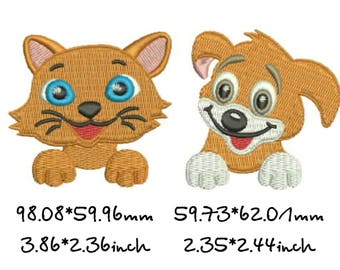 Dog and cat, design machine embroidery, instant download