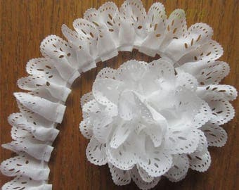 1 3/8 inch wide Gathered Lace Edge Trim  white color price for 1 yard