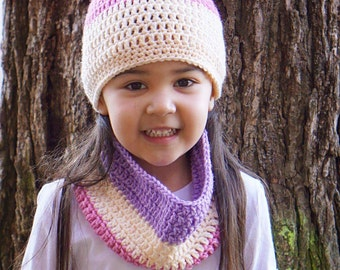 Purple and pink child scarf, pink cowl scarf, pink child scarf, purple beanie,purple scarf,pink beanie, purple cowl scarf,child cowl scarf