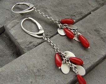 Sterling silver, oxidized silver and coral - gentle long earrings