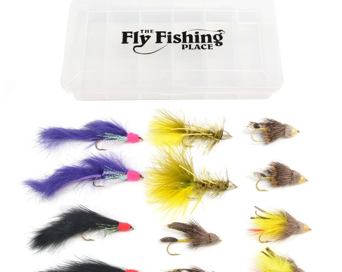 Fly Fishing Gift Set - 12 Cone Head Streamers Trout and Bass Fly Fishing Flies with Fly Box - 2 Each of 6 Patterns - Hook Size 4