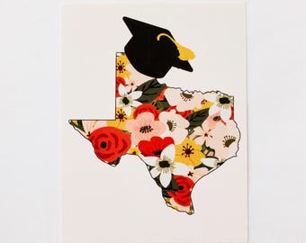 Texas Graduation Card - Red Yellow Pink Notecards Floral Texas Cap Announcement Rifle Paper Co Bearly Southern Co