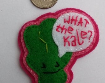 """Eco-Felt """"What the Kale?""""  Handsewn Kale Pin"""