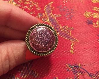 Beautiful purple glitter adjustable band ring