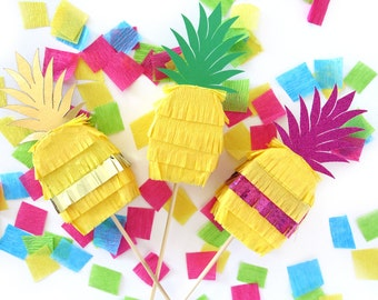 Pineapple Pinata Cake Toppers for Cinco de Mayo Fiesta Decorations Tropical Party -SET OF 3