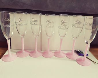 personalised champagne flutes with glitter stem for bridal party