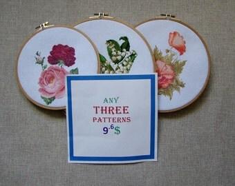 3 Patterns - Set of 3 Patterns - 9.6 Dollars USD - Modern cross stitch pattern PDF