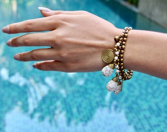 Beaded Bracelet, Bohemian Bracelet, Howlite And Gold Beads Bracelet, White Bracelet, Gypsy Bracelet, Bridal Bracelet, Gifts Bracelet, B110
