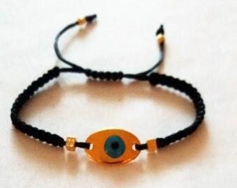 Bracelet, Evil Eye Charm, Greek jewelry, Made in Greece, Macrame bracelet, Weddings,Handmade bracelet,  Charm bracelet, Gold
