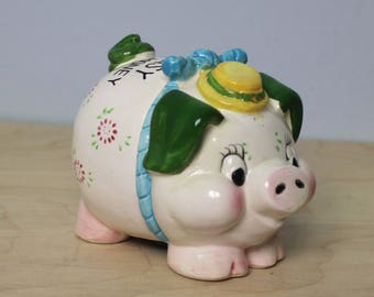 "Vintage ""Saving is Easy"" Ceramic Piggy Bank"