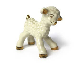 Vintage Ceramic Lamb Figurine with Gold Detail