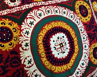 Antique Tajik Traditional Handmade Suzani from 1900s, Wall Carpet, Tablecloth, Bedspread