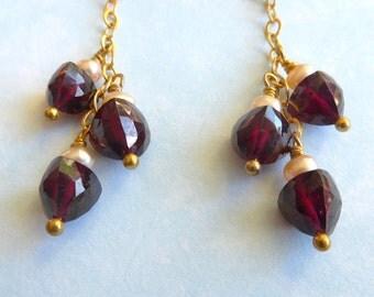 Garnet and Pearl Earrings, Garnet Earrings, Garnet Gold Earrings, Pearl Gold Earrings, Garnet Chain Earrings, Garnet Dangle Earrings,
