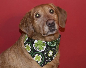 St. Patrick's Day Shamrock Reversible Dog Bandana
