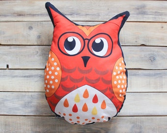 READY TO SHIP! Red Owl pillow toy