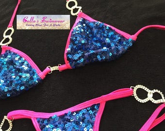 Blue Sequin Bikini with Hot Pink Trim and High End Crystal Connectors