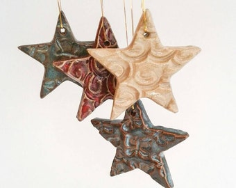 "Star Christmas Tree Ornaments, Xmas, Ceramic Hanging Decorations, various colours, UK studio pottery, artisan, 4-5cm (1.5""-1.9"")"