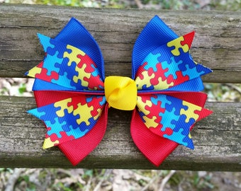 Autism Awareness Hair Bow (4 inch)