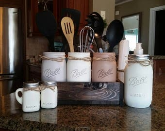Rustic Kitchen Decor Mason Jar Utensil Holder Mason Jar Kitchen Decor Rustic Farmhouse