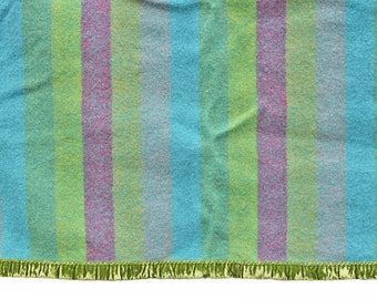 Vintage Wool Blanket, Full or Twin, Mid Century Modern, Striped Blanket, Plum Purple, Aqua, Turquoise Blue, Green Stripes, Camp, Cottage
