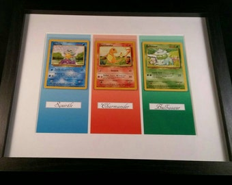 Framed Original Base Set 1 Pokemon Cards. Charmander, Squirtle And Bulbasaur In Near Mint Condition.