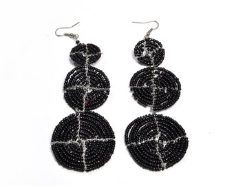 Black Bead handmade earrings