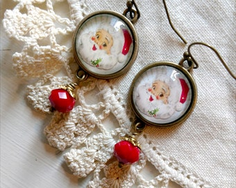 Retro Santa Christmas Earrings with Red Bead