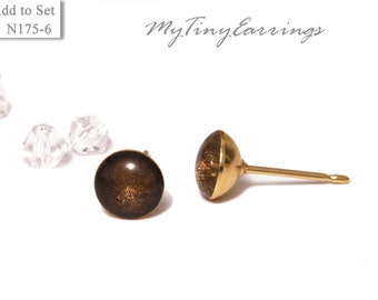 6mm Chocolate Stud Earrings Mini Tiny Shimmery  - Stainless Steel Gold Plated Posts plus High Quality Epoxy Resin 175-6