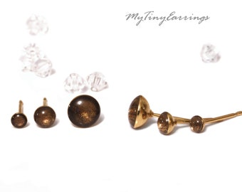 Set of 3 Pairs of Chocolate Piercing Earrings Mini Tiny 6, 4, 3mm Stainless Steel Gold Plated Posts plus High Quality Epoxy Resin 175-6-4-3