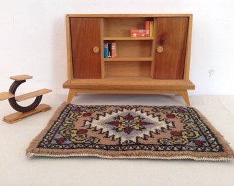 Dollhouse miniature furniture , scale 1:12, livingroom bookcase with rug,planttable