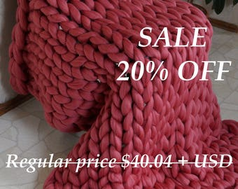 SALE! Chunky knit blanket, Chunky knit throw, Merino blanket, Arm knit blanket, Super chunky blanket, Super thick blanket, Gift