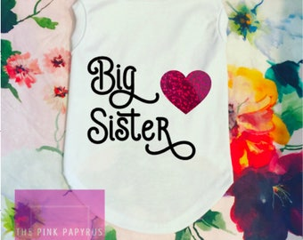 Dog Big Sister, Dog Big Sister Baby, Big Sister/Big Brother Dog T-Shirt | Dog Onesie, Dog Onesies,  Custom Dog T-Shirt,Big Brother Dog Shirt