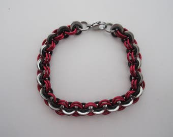 Red and black anodized aluminum with stainless steel washers bracelet