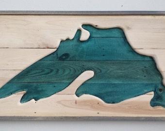 Lake Superior Hand Carved Pallet Wood Sign