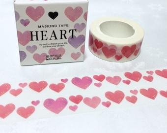 Heart shape washi tape 7M x 1.5cm Red heart sweet heart masking tape heart pattern sticker tape love heart decor heart gift wrapping