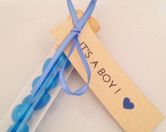 ITS A BOY! 20 Pk Rustic  Baby Shower Tags | Baby BOY Gift Favour Tags | Kraft Tags with Blue Heart