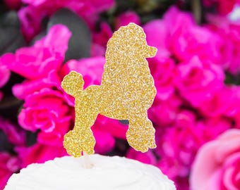 12 Poodle Cupcake Toppers, Dog Birthday Party, Baby Shower, Puppy Cupcake Topper, Dog Cake Toppers, Party Food Picks, Glitter Puppy Topper