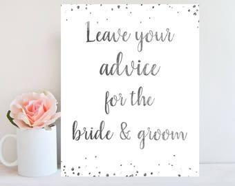 Advice for the Bride and Groom, Printable Advice Sign, Bridal Shower Game, Silver Confetti, Wedding Advice Card, Instant Download BRSG5