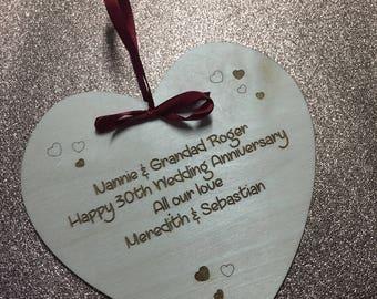 anniversary gift personalised gift personalised heart wedding gift ...