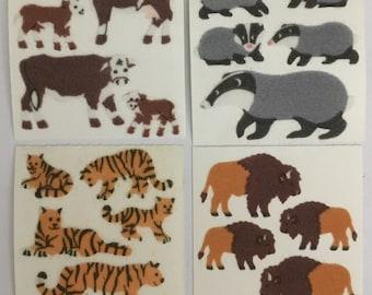 Vintage Fuzzy Animal Stickers Lot