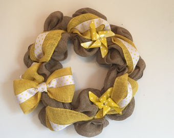 Yellow Pinwheel Burlap Wreath