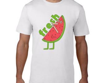 Funny T-Shirt Watermelon, Mens Tshirt, Illustrated Tshirt, Summer Clothes