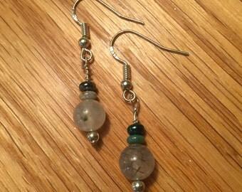 Dainty Prehnite Sterling Silver Earrings
