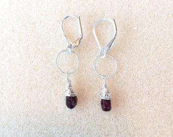 Garnet Earrings with Leverback Earwires