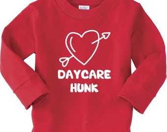 Cute Long Sleeve Valentine Shirt Daycare Hunk Heart with Arrow Daycare 2 Year Old 3 Year Old Valentine Cute Toddler Long Sleeve Tee Shirt