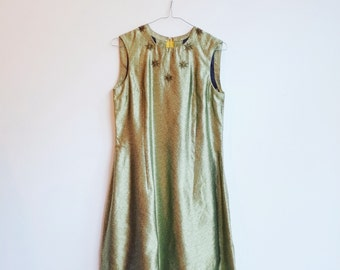 Vintage golden hippie boho sequin party dress S