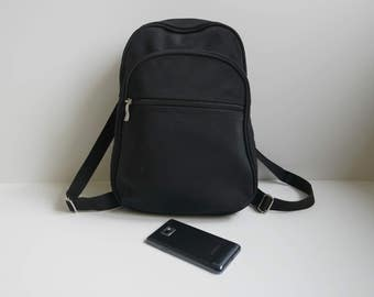 Vintage Black Backpack,  Black Midi Rucksack, Midi Bacpack