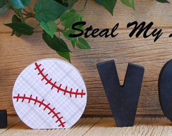 "Baseball: Love Baseball Letter Decoration ""O"" Insert ONLY - Craft for ""H M E"", ""L V E"" or ""WELCME"" Interchangeable Letter Set"