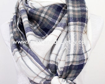 plaid blanket scarf, blanket scarf, blanket scarf plaid, scarf blanket, womens scarves, gray, blue, gift for her, christmas gifts, for mom